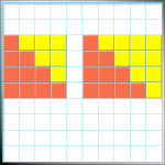 4x4 Square with extra column of 4 results in two equal shaded areas- triangular numbers!